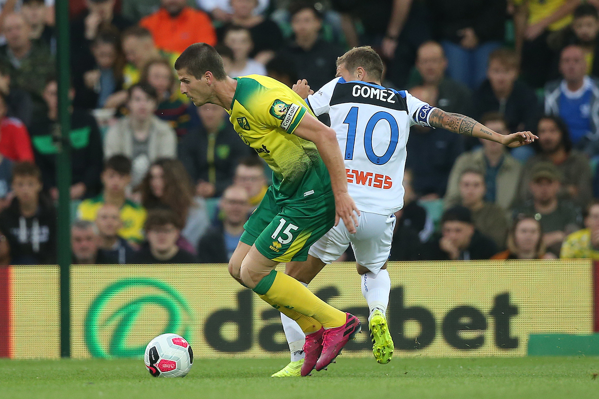 Timm Klose of Norwich and Alejandro Gomez of Atalanta in action during the Pre-season friendly match at Carrow Road, Norwich Picture by Paul Chesterton/Focus Images Ltd +44 7904 640267 30/07/2019