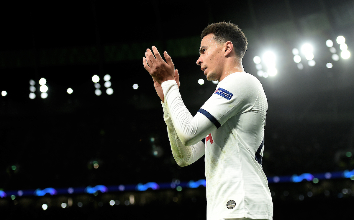 Tottenham Hotspur's Dele Alli applauds the home fans as he leaves the pitch during the UEFA Champions League match at Tottenham Hotspur Stadium, London Picture by Daniel Hambury/Focus Images Ltd 07813022858 26/11/2019