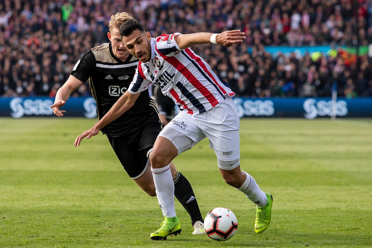 Vangelis Pavlidis of Willem II and Matthijs de Ligt of Ajax Amsterdam during the 2019 KNVB Cup Final at De Kuip, Rotterdam Picture by Sjoerd Tullenaar/Focus Images Ltd +31655744888 05/05/2019