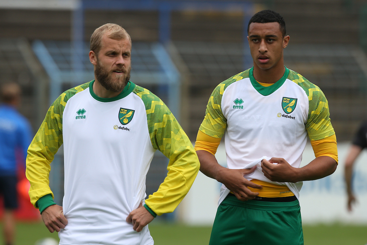 Teemu Pukki of Norwich and Adam Idah of Norwich before the Pre-season friendly match at Energieversum Stadion, Gutersloh Picture by Paul Chesterton/Focus Images Ltd +44 7904 640267 14/07/2019
