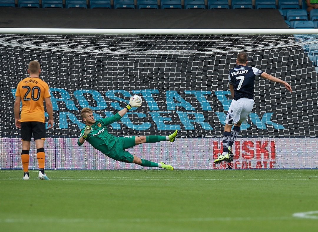 Jed Wallace of Millwall puts the ball past George Long goalkeeper of Hull City to score from the penalty spot during the Sky Bet Championship match at The Den, London Picture by Alan Stanford/Focus Images Ltd +44 7915 056117 31/08/2019