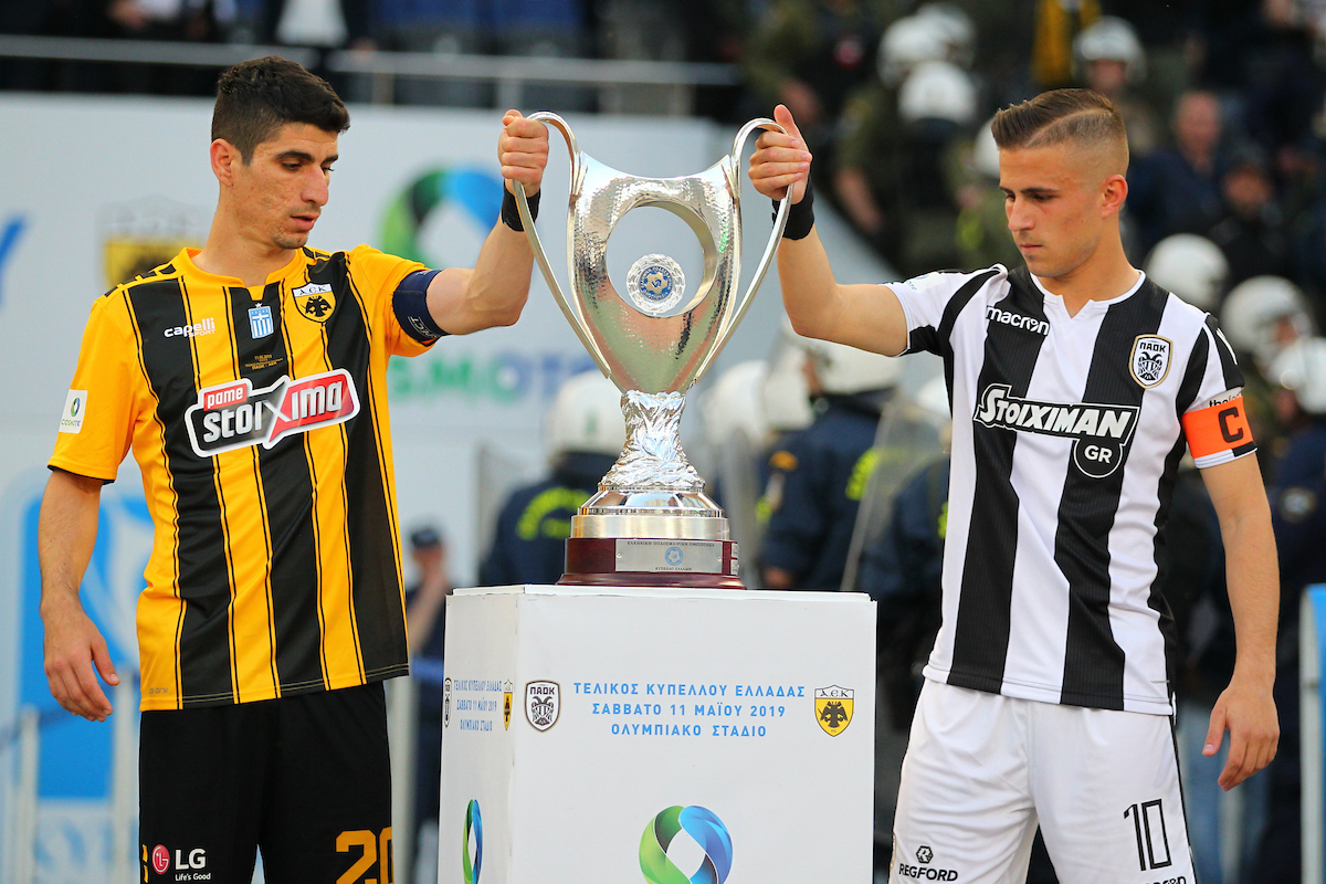 Dimitrios Pelkas of PAOK and Petros Mandalos of AEK Athens holding the Cup during the Greek Cup Final at Olympic Stadium, Athens Picture by Yannis Halas/Focus Images Ltd +353 8725 82019 11/05/2019