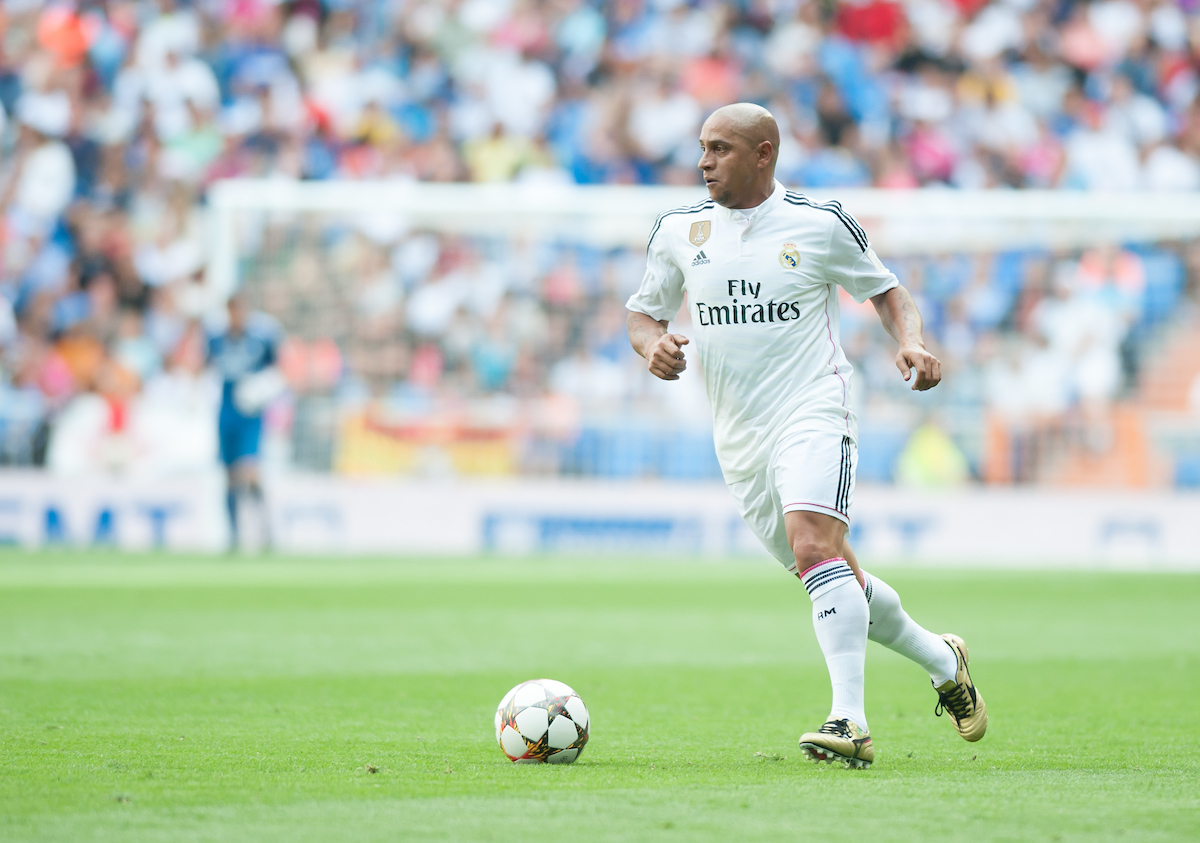 Roberto Carlos of Real Madrid Legends during the friendly match at the Estadio Santiago Bernabeu, Madrid Picture by Marcos Calvo Mesa/Focus Images Ltd +34 654142934 14/06/2015