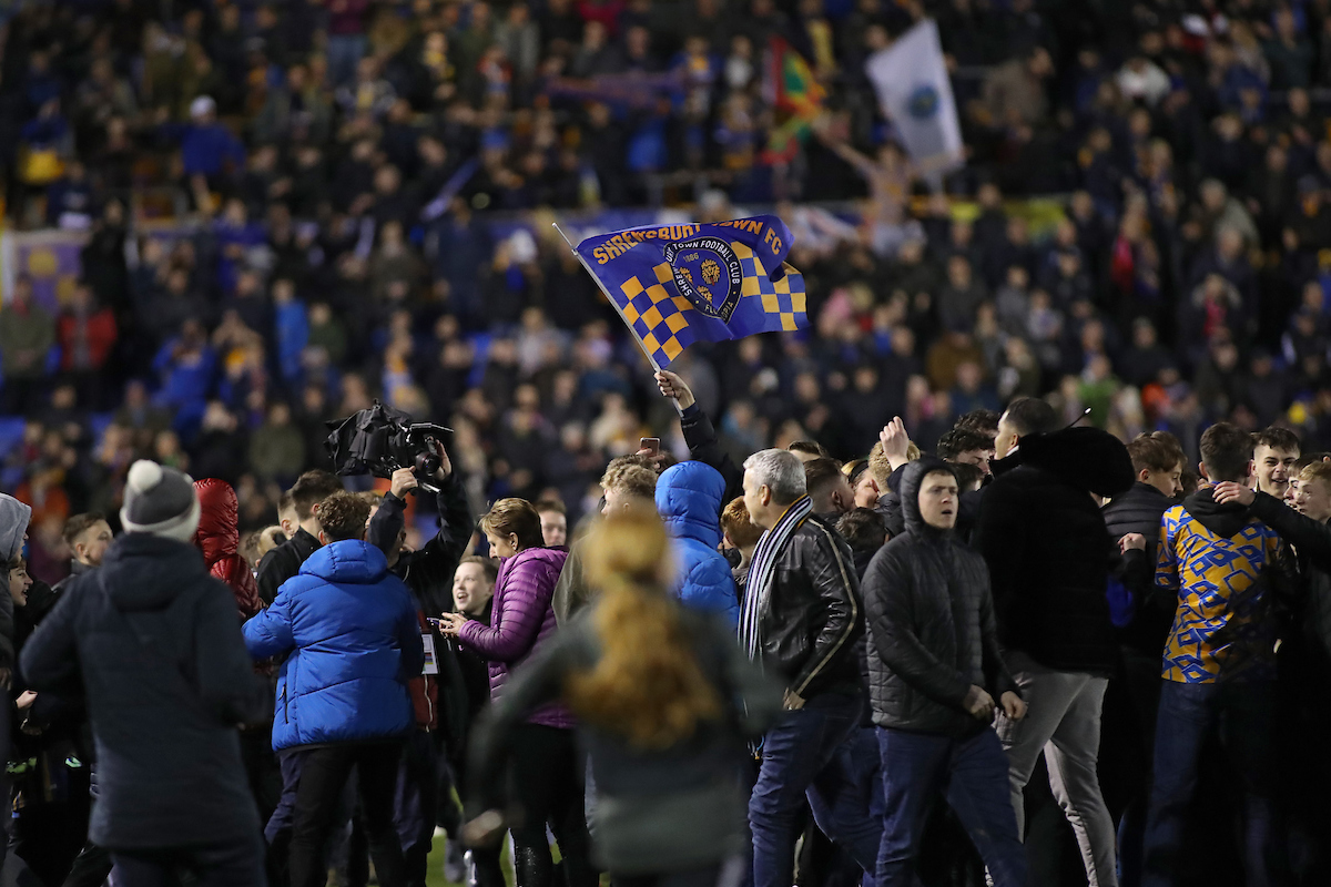 Shrewsbury Town fans celebrate after the FA Cup match against Liverpool at Montgomery Waters Meadow, Shrewsbury. Picture by Michael Sedgwick/Focus Images Ltd +44 7900 363072 26/01/2020