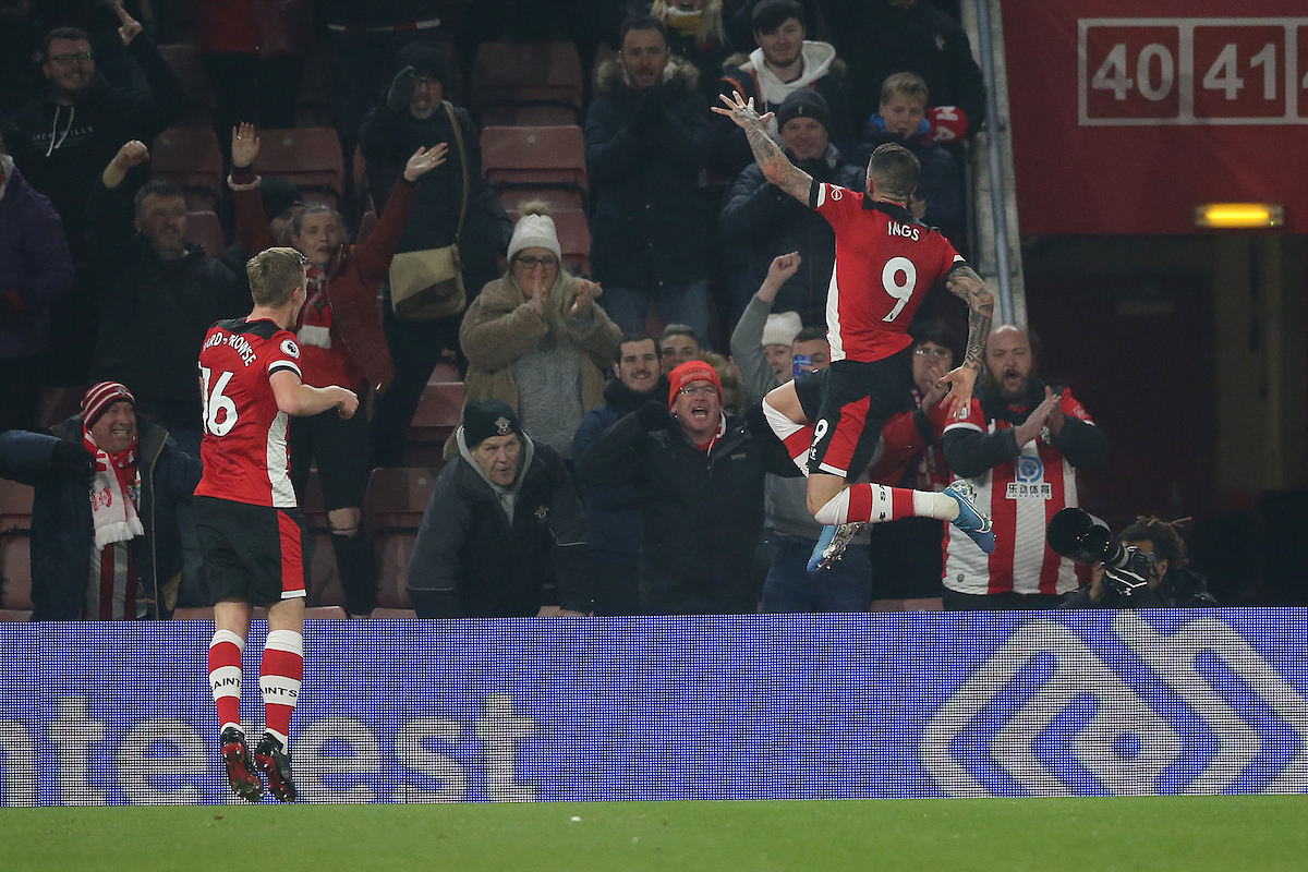 Danny Ings of Southampton celebrates scoring his sides 1st goal during the Premier League match at the St Mary's Stadium, Southampton Picture by Paul Chesterton/Focus Images Ltd +44 7904 640267 04/12/2019