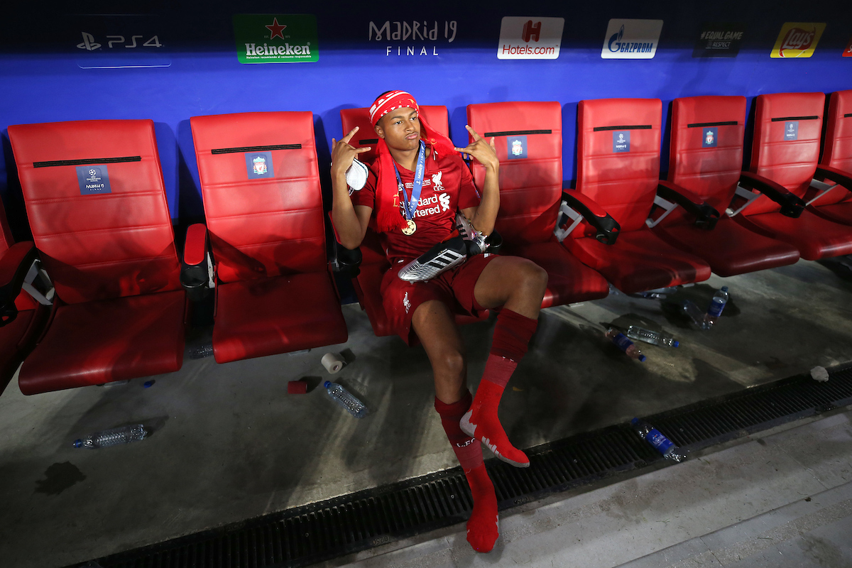 Rhian Brewster of Liverpool at the end of the UEFA Champions League Final at the Wanda Metropolitano Stadium, Madrid Picture by Paul Chesterton/Focus Images Ltd +44 7904 640267 01/06/2019