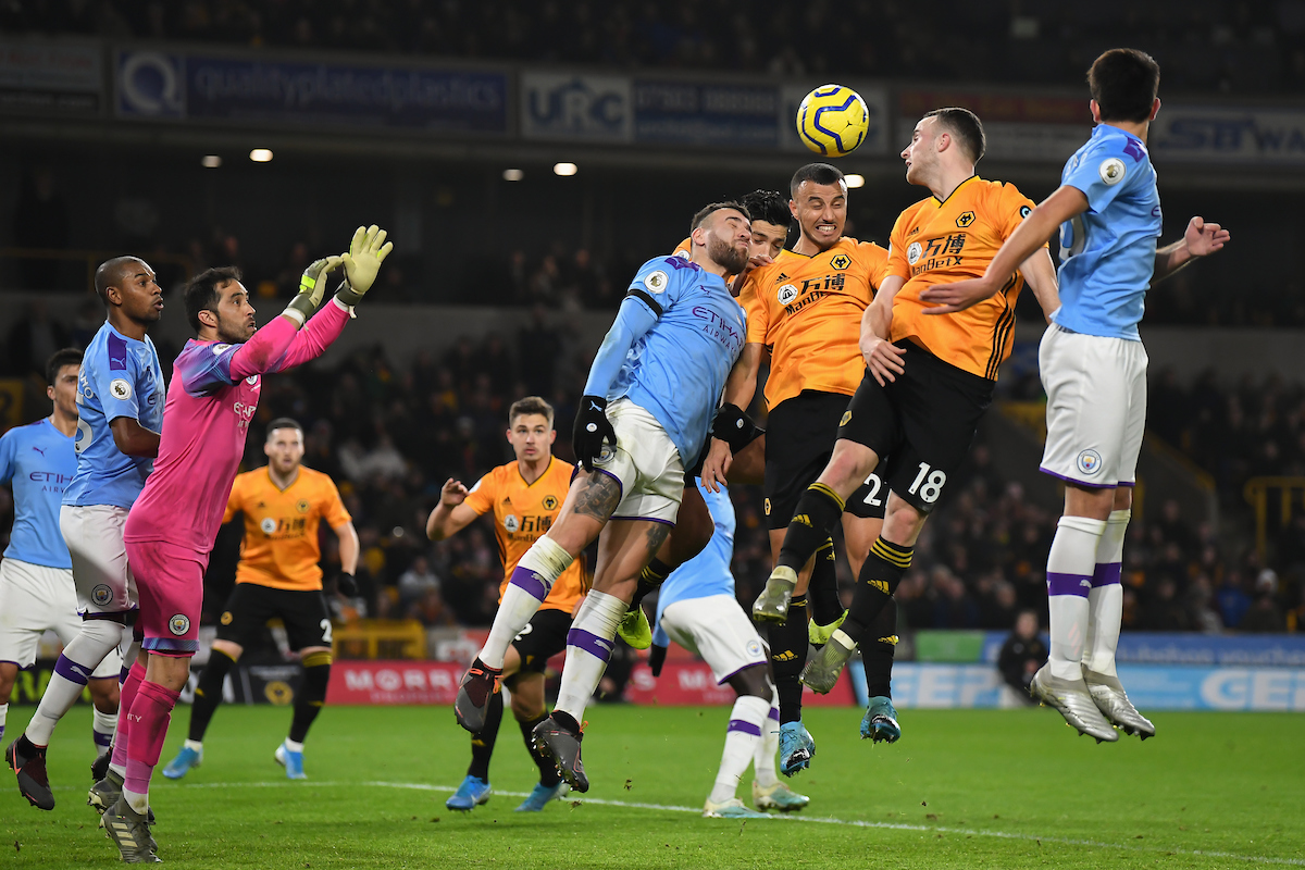 Romain Saiss of Wolverhampton Wanderers with a headed attempt on goal during the Premier League match at Molineux, Wolverhampton Picture by Martyn Haworth/Focus Images Ltd 07463250714 27/12/2019