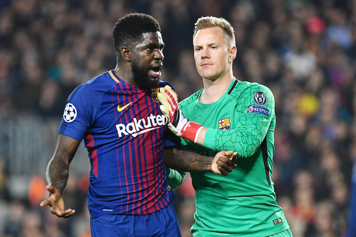 FC Barcelona goalkeeper Marc-André ter Stegen (right) prevents Samuel Umtiti from confronting the referee during the UEFA Champions League match at Camp Nou, Barcelona Picture by Kristian Kane/Focus Images Ltd +44 7814 482222 14/03/2018