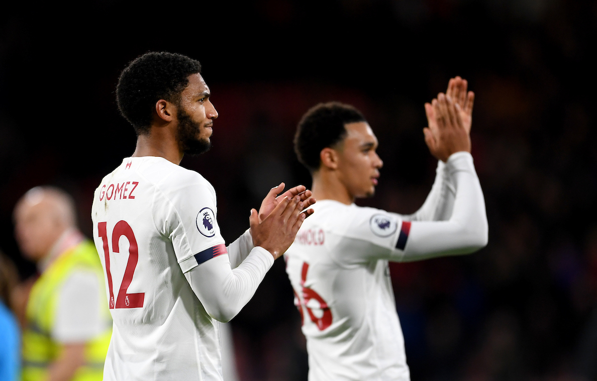Joe Gomez of Liverpool celebrates his sides victory after the Premier League match at the Vitality Stadium, Bournemouth Picture by Jeremy Landey/Focus Images Ltd 07747773987 07/12/2019