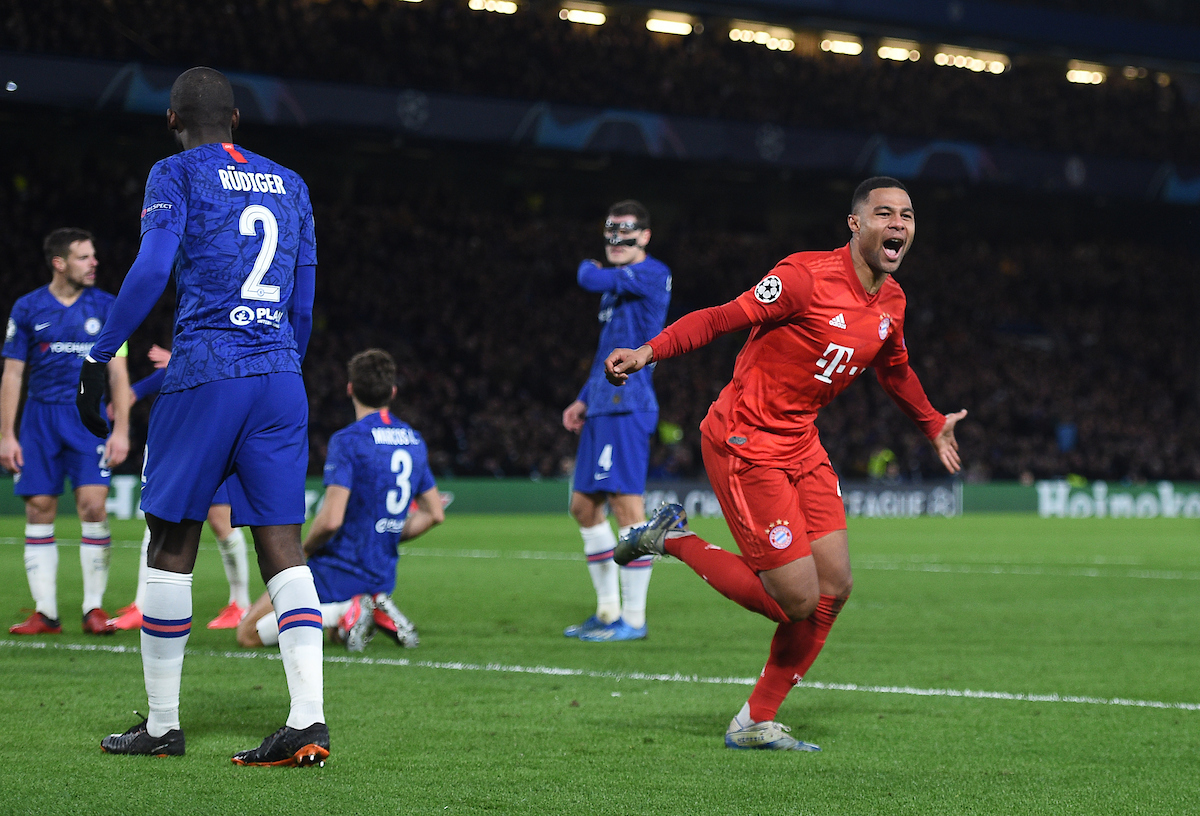 Bayern Munich's Serge Gnabry celebrates scoring his side's first goal of the game during the UEFA Champions League match at Stamford Bridge, London Picture by Daniel Hambury/Focus Images Ltd 07813022858 25/02/2020