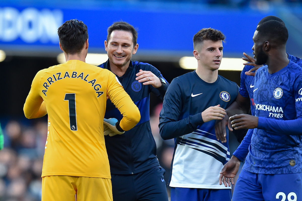 Chelsea Manager Frank Lampard with Goalkeeper Kepa Arrizabalaga at full time after the Premier League match at Stamford Bridge, London Picture by Martyn Haworth/Focus Images Ltd 07463250714 19/10/2019
