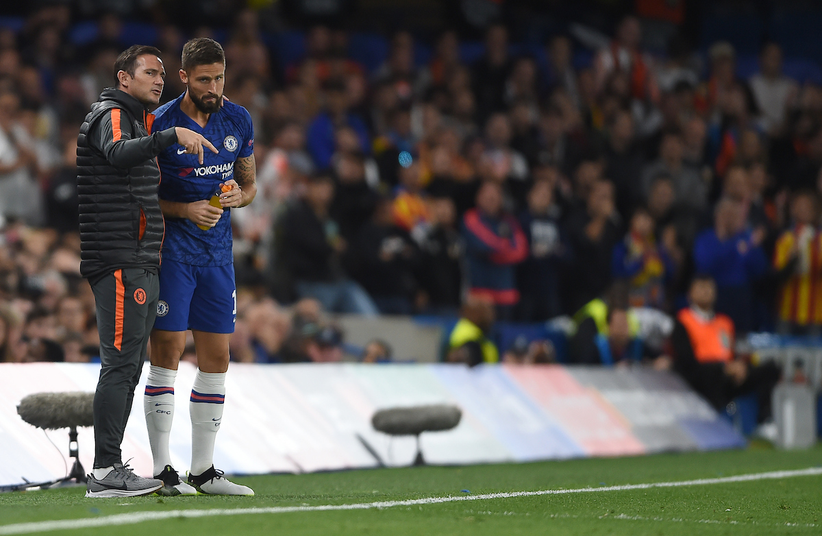Chelsea manager Frank Lampard gives instructions to Olivier Giroud during the UEFA Champions League match at Stamford Bridge, London Picture by Daniel Hambury/Focus Images Ltd 07813022858 17/09/2019