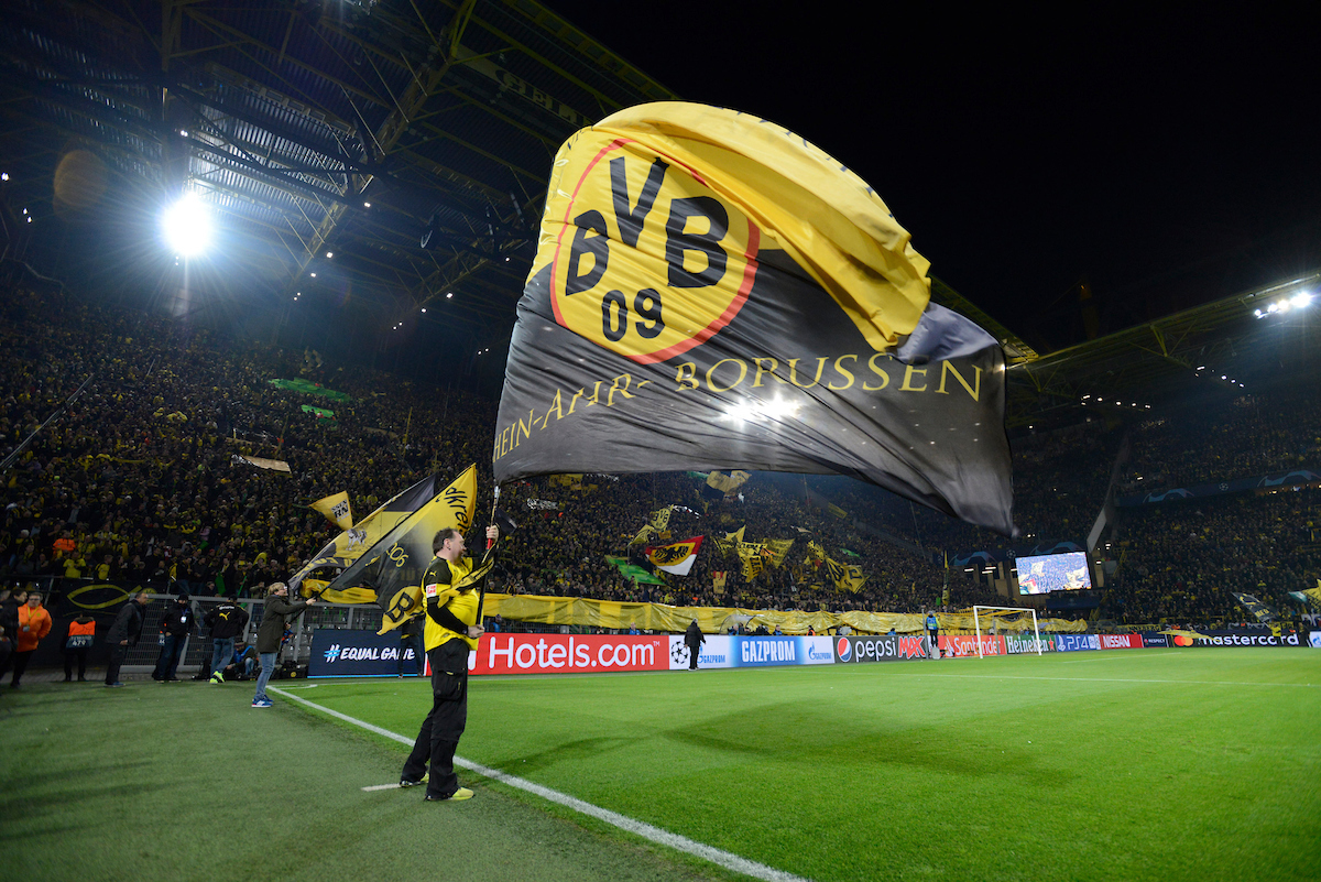 A Borussia Dortmund flag is waved before the UEFA Champions League match at Signal Iduna Park, Dortmund Picture by Russell Hart/Focus Images Ltd 07791 688 420 05/03/2019