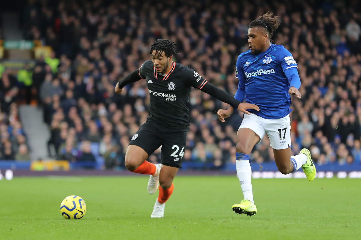 Reece James of Chelsea and Alex Iwobi of Everton in action during the Premier League match at Goodison Park, Liverpool. Picture by Michael Sedgwick/Focus Images Ltd +44 7900 363072 07/12/2019