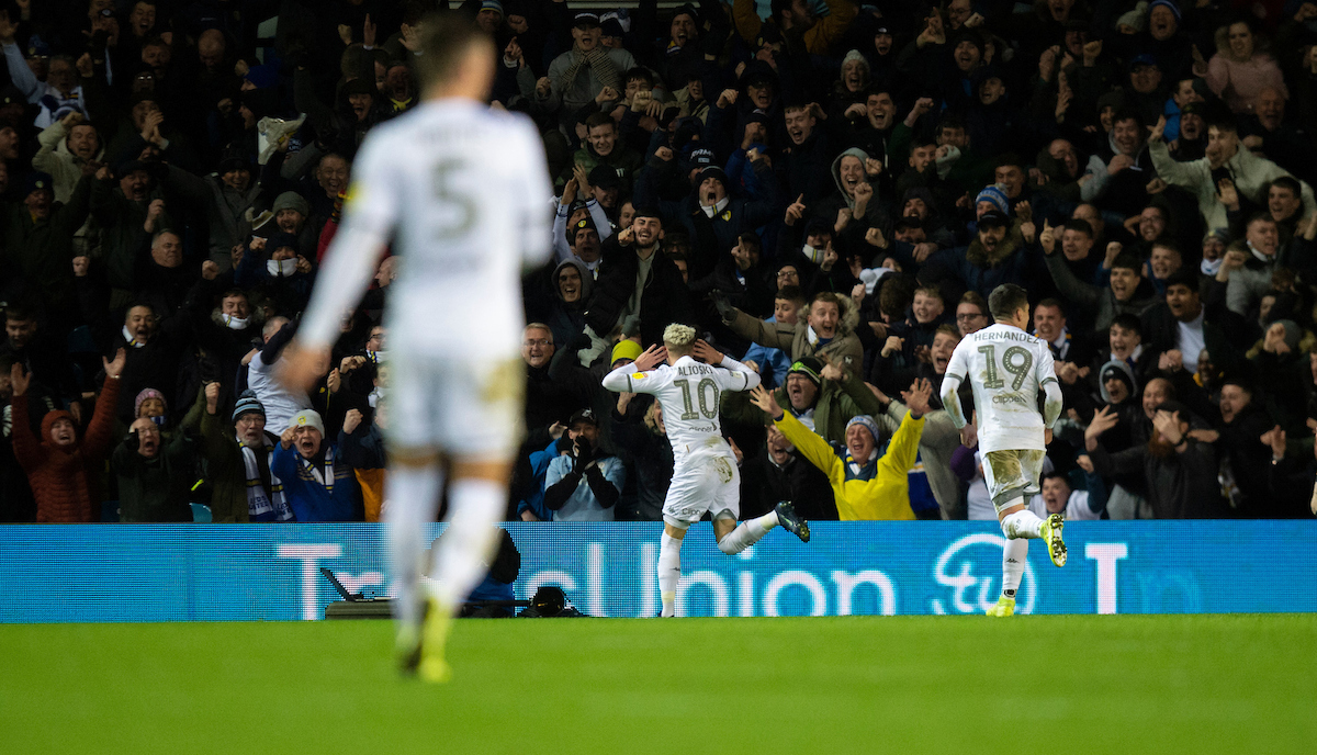 Ezgjan Alioski of Leeds United celebrates after scoring his team's 2nd goal to make it 2-0 during the Sky Bet Championship match at Elland Road, Leeds Picture by Russell Hart/Focus Images Ltd 07791 688 420 10/12/2019