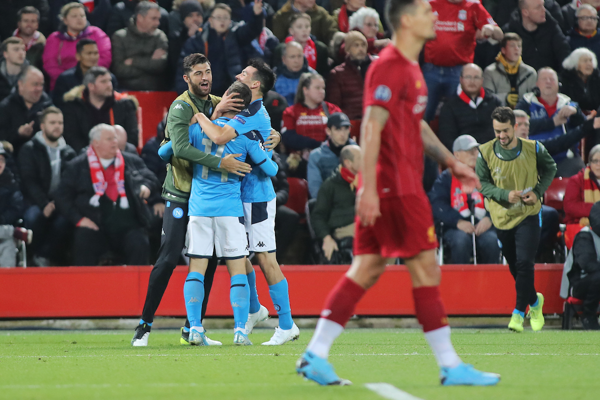 Dries Mertens of Napoli celebrates with his team mates after scoring the first goal against Liverpool during the UEFA Champions League match at Anfield, Liverpool. Picture by Michael Sedgwick/Focus Images Ltd +44 7900 363072 27/11/2019