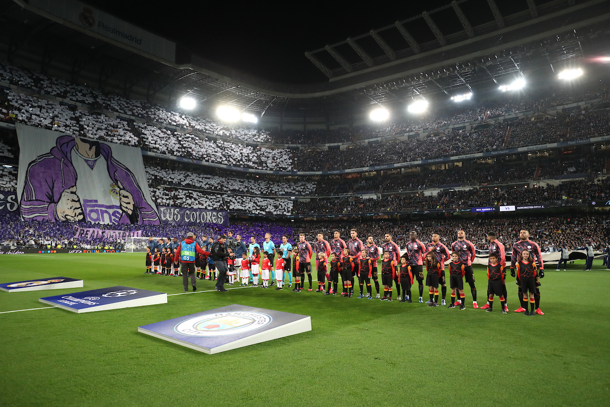 Real Madrid and Manchester City players line up before the start of the UEFA Champions League match at the Estadio Santiago Bernabeu, Madrid Picture by Yannis Halas/Focus Images Ltd +353 8725 82019 26/02/2020
