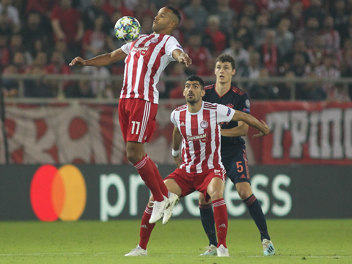 Youssef El Arabi of Olympiacos F.C. controls the ball with his chest during the UEFA Champions League match at Karaiskakis Stadium, Piraeus Picture by Yannis Halas/Focus Images Ltd +353 8725 82019 22/10/2019