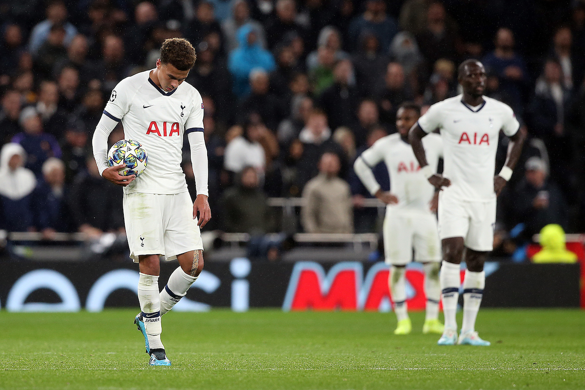 Dele Alli of Tottenham Hotspur looks dejected after his side concedes it's 4th goal during the UEFA Champions League match at Tottenham Hotspur Stadium, London Picture by Paul Chesterton/Focus Images Ltd +44 7904 640267 01/10/2019