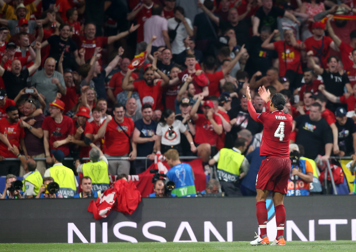 Virgil van Dijk of Liverpool celebrates the second goal during the UEFA Champions League Final at the Wanda Metropolitano Stadium, Madrid Picture by Paul Chesterton/Focus Images Ltd +44 7904 640267 01/06/2019