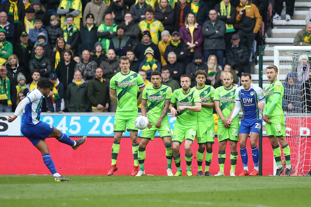 Reece James of Wigan Athletic has a shot on goal from a free kick during the Sky Bet Championship match at the DW Stadium, Wigan Picture by Paul Chesterton/Focus Images Ltd +44 7904 640267 14/04/2019