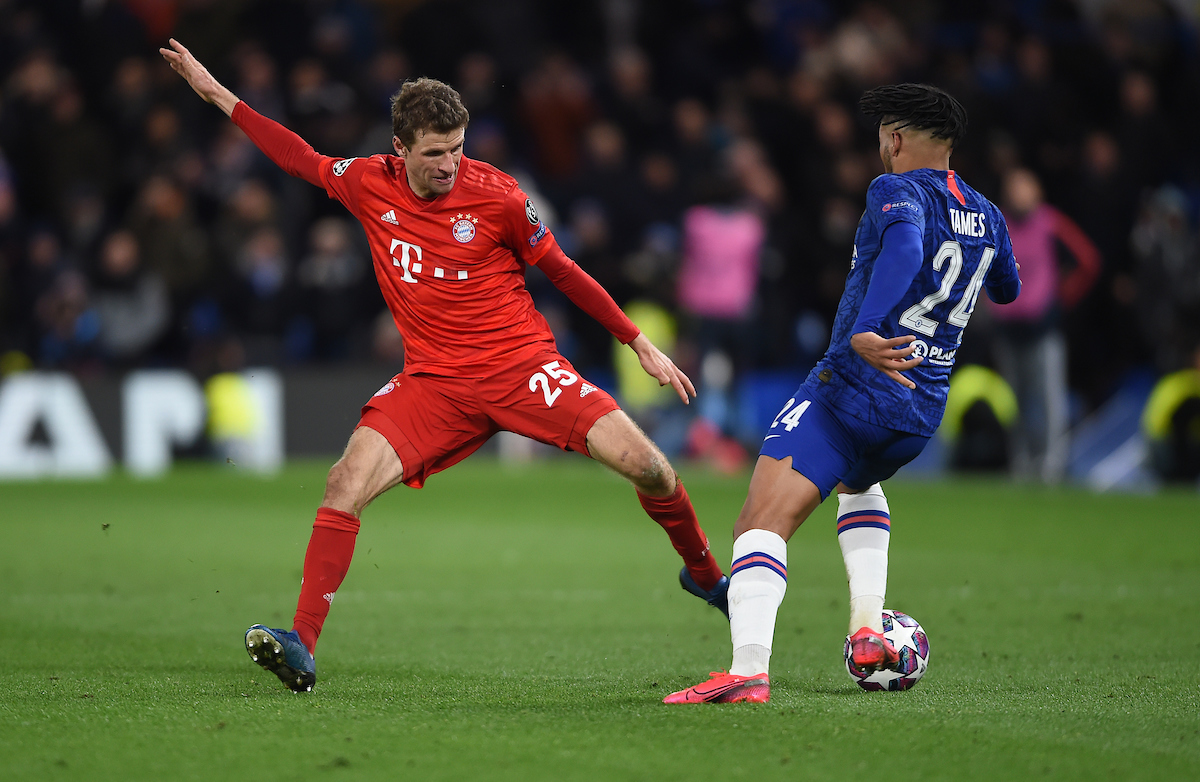Bayern Munich's Thomas Mueller and Chelsea's Reece James during the UEFA Champions League match at Stamford Bridge, London Picture by Daniel Hambury/Focus Images Ltd 07813022858 25/02/2020