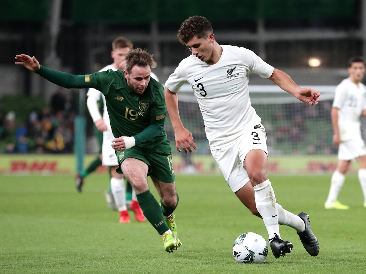 Alan Judge of Republic of Ireland and Liberato Cacace of New Zealand during the International Friendly match at the Aviva Stadium, Dublin Picture by Yannis Halas/Focus Images Ltd +353 8725 82019 14/11/2019