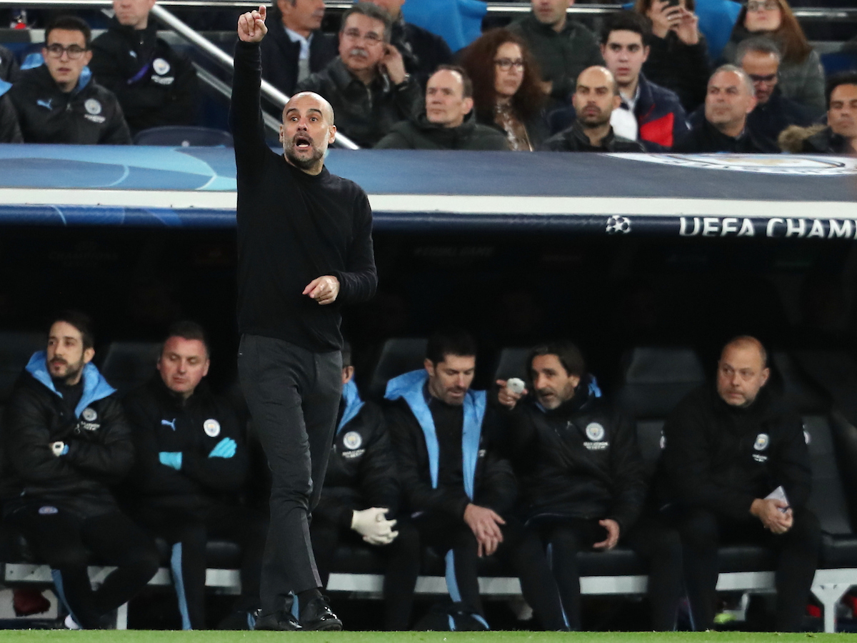 Pep Guardiola of Manchester City during the UEFA Champions League match at the Estadio Santiago Bernabeu, Madrid Picture by Yannis Halas/Focus Images Ltd +353 8725 82019 26/02/2020