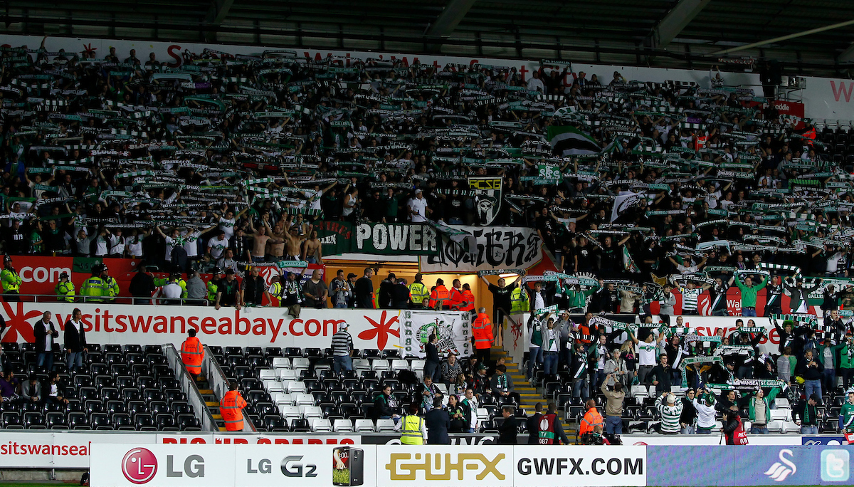 Picture by Mike Griffiths/Focus Images Ltd +44 7766 223933 03/10/2013 The FC St. Gallen fans during the UEFA Europa League match at the Liberty Stadium, Swansea.