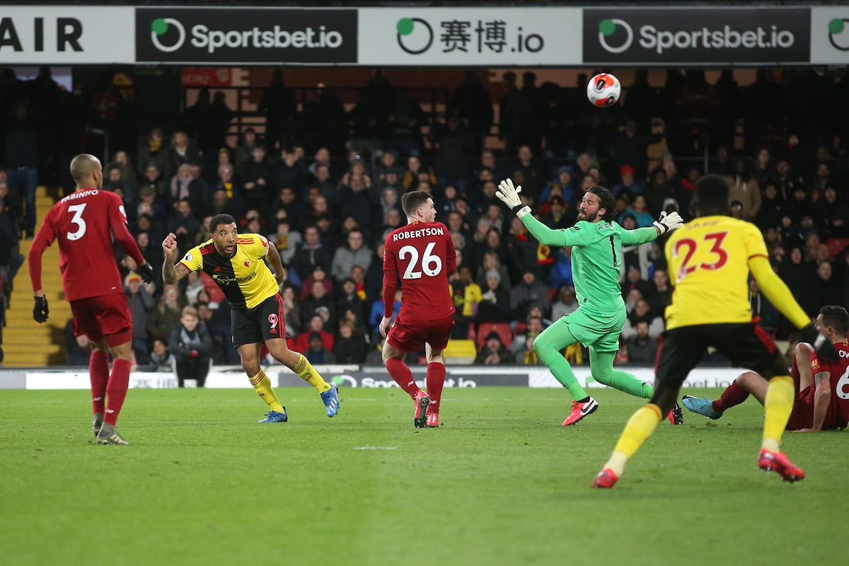 Troy Deeney of Watford has a shot on goal during the Premier League match at Vicarage Road, Watford Picture by Paul Chesterton/Focus Images Ltd +44 7904 640267 29/02/2020