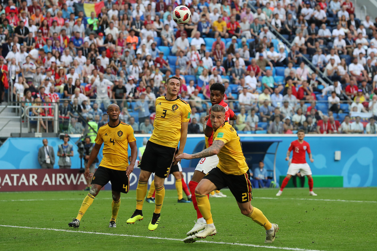 Jesse Lingard of England, Thomas Vermaelen of Belgium and Toby Alderweireld of Belgium in action during the 2018 FIFA World Cup 3rd/4th Play Off match at St Petersburg Stadium, St Petersburg Picture by Paul Chesterton/Focus Images Ltd +44 7904 640267 14/07/2018