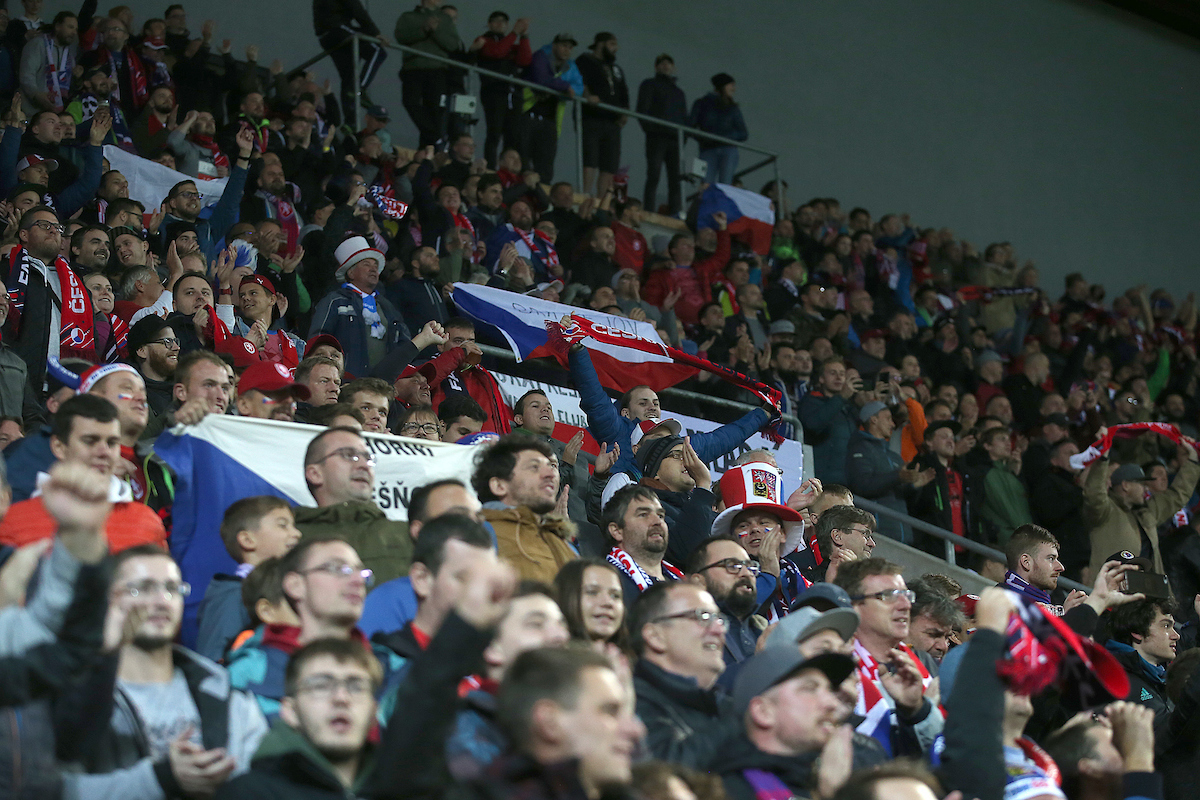 The Czech Republic fans celebrate their side's 2nd goal during the UEFA Euro 2020 Qualifiers match at Sinobo Stadium, Prague Picture by Paul Chesterton/Focus Images Ltd +44 7904 640267 11/10/2019