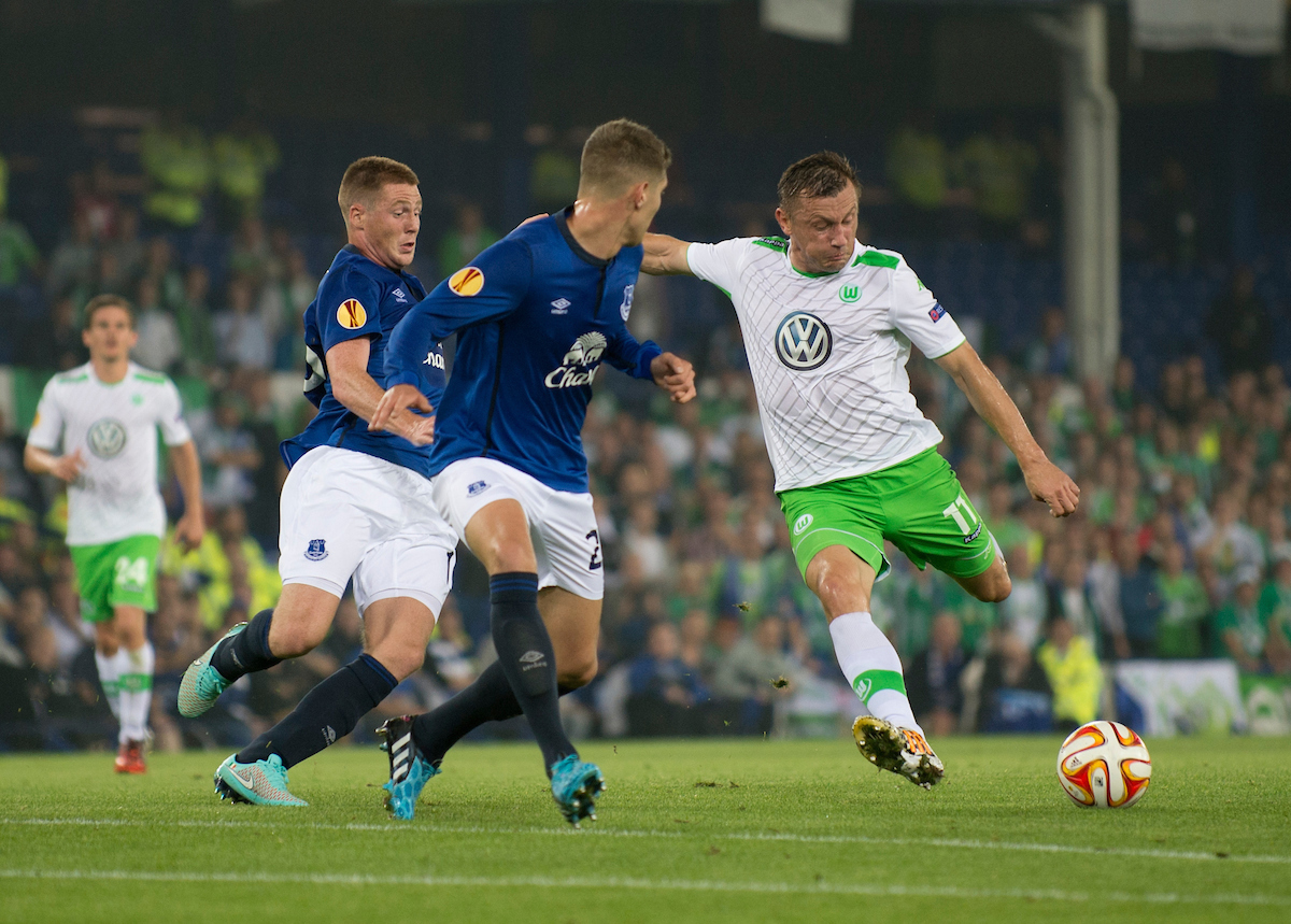 Ivica Olic of VfL Wolfsburg looks to shoot at goal during the UEFA Europa League match at Goodison Park, Liverpool Picture by Russell Hart/Focus Images Ltd 07791 688 420 17/09/2014