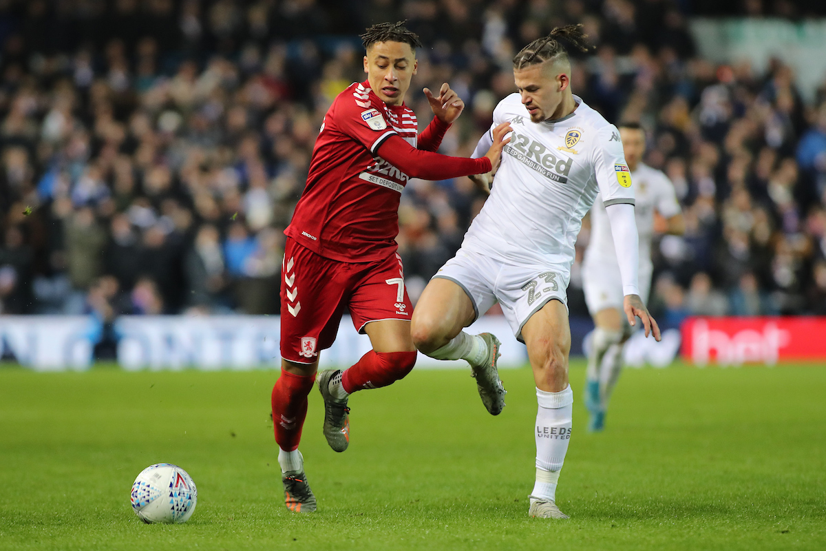Marcus Tavernier of Middlesbrough and Kalvin Phillips of Leeds United in action during the Sky Bet Championship match at Elland Road, Leeds. Picture by Michael Sedgwick/Focus Images Ltd +44 7900 363072 30/11/2019
