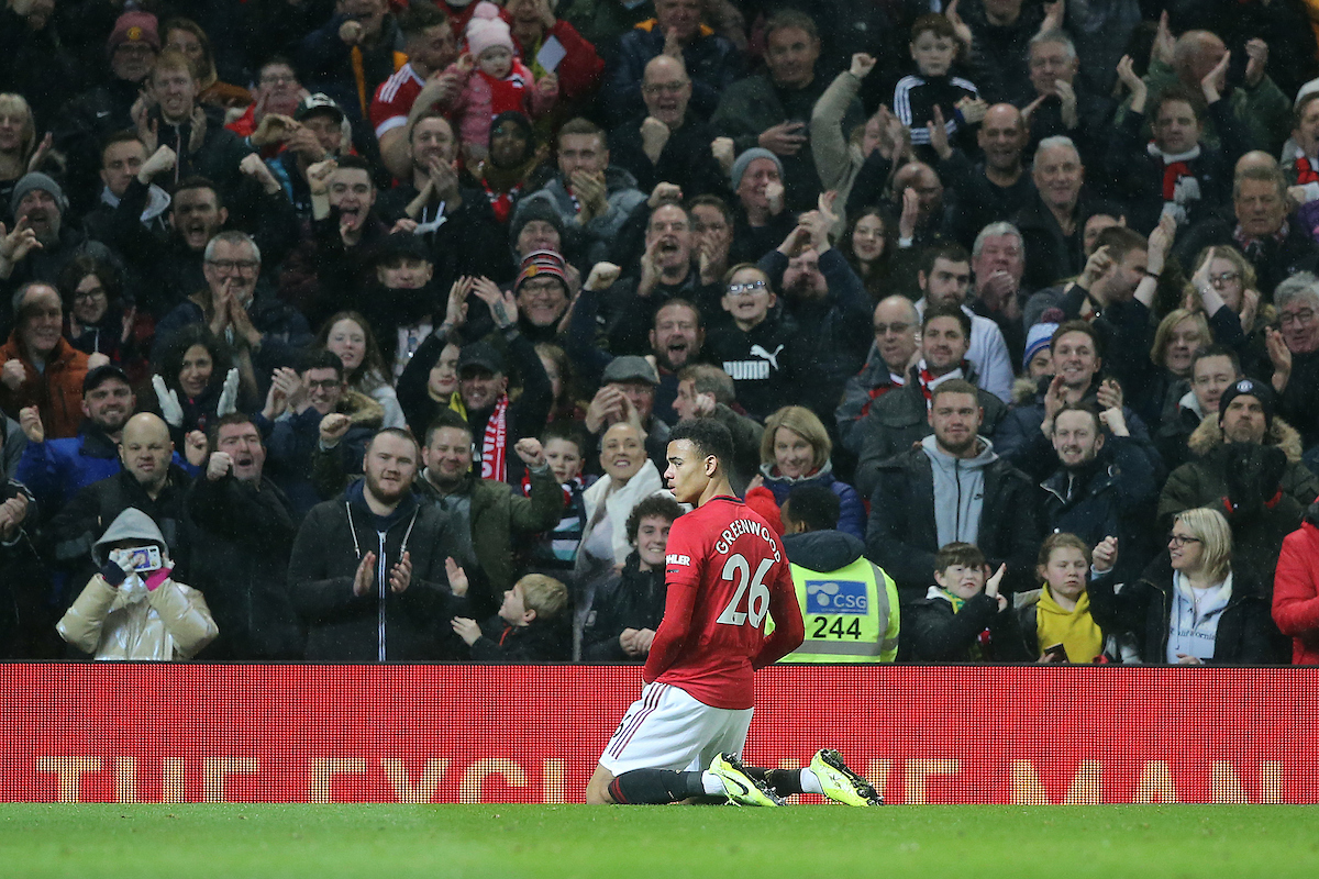 Mason Greenwood of Manchester United celebrates scoring his sides 4th goal during the Premier League match at Old Trafford, Manchester Picture by Paul Chesterton/Focus Images Ltd +44 7904 640267 11/01/2020