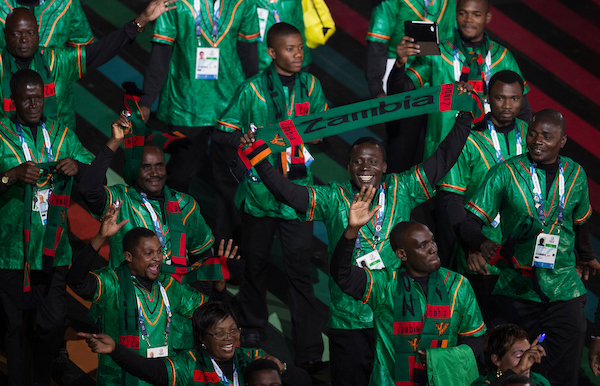 Members of team Zambia arrive during the Glasgow 2014 Commonwealth Games Opening Ceremony at Celtic Park, Glasgow Picture by Paul Terry/Focus Images Ltd +44 7545 642257 23/07/2014