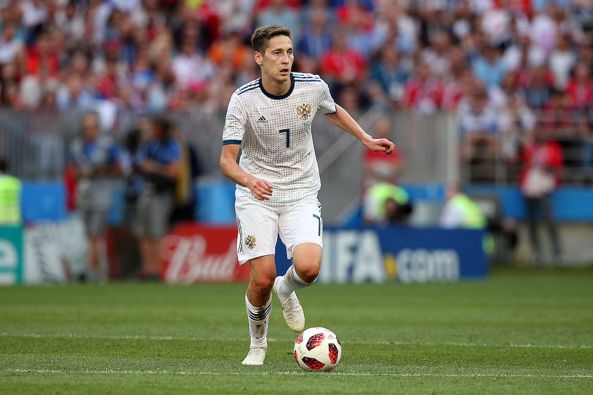 Daler Kuzyayev of Russia in action during the 2018 FIFA World Cup match at Luzhniki Stadium, Moscow Picture by Paul Chesterton/Focus Images Ltd +44 7904 640267 01/07/2018