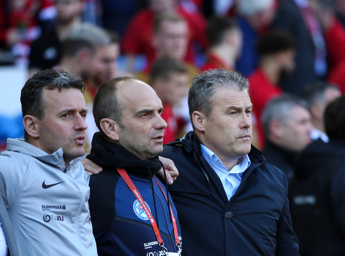 Pavel Hapal (R) of Slovakia during the UEFA Euro 2020 Qualifiers match at the Cardiff City Stadium, Cardiff Picture by Mike Griffiths/Focus Images Ltd +44 7766 223933 24/03/2019
