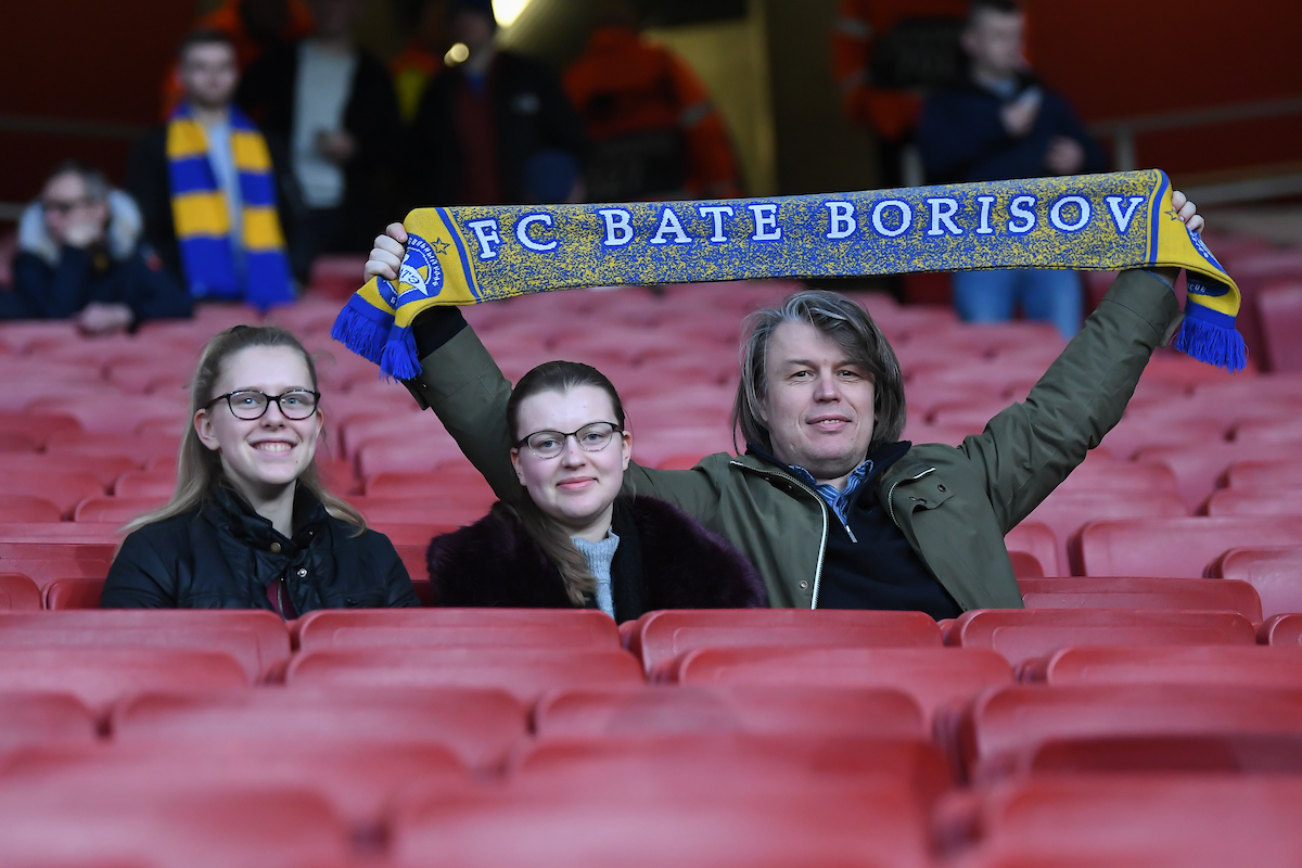 FC BATE Borisov fans prior to the UEFA Europa League match at the Emirates Stadium, London Picture by Martyn Haworth/Focus Images Ltd 07463250714 21/02/2019
