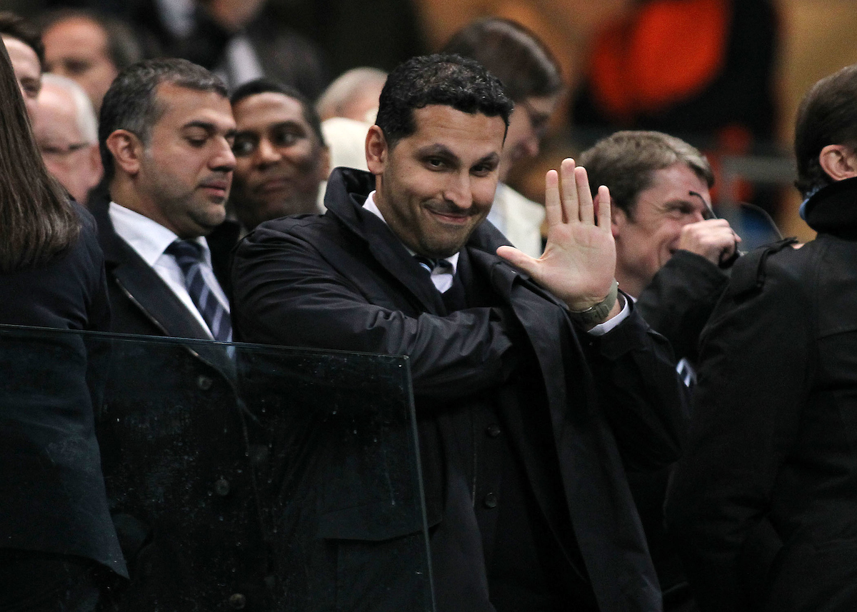 Picture by Michael Sedgwick/Focus Images Ltd +44 7900 363072.03/10/2012.Manchester City's billionaire owner Sheikh Mansour in the stand prior to the UEFA Champions League match against Borussia Dortmund at the Etihad Stadium, Manchester.