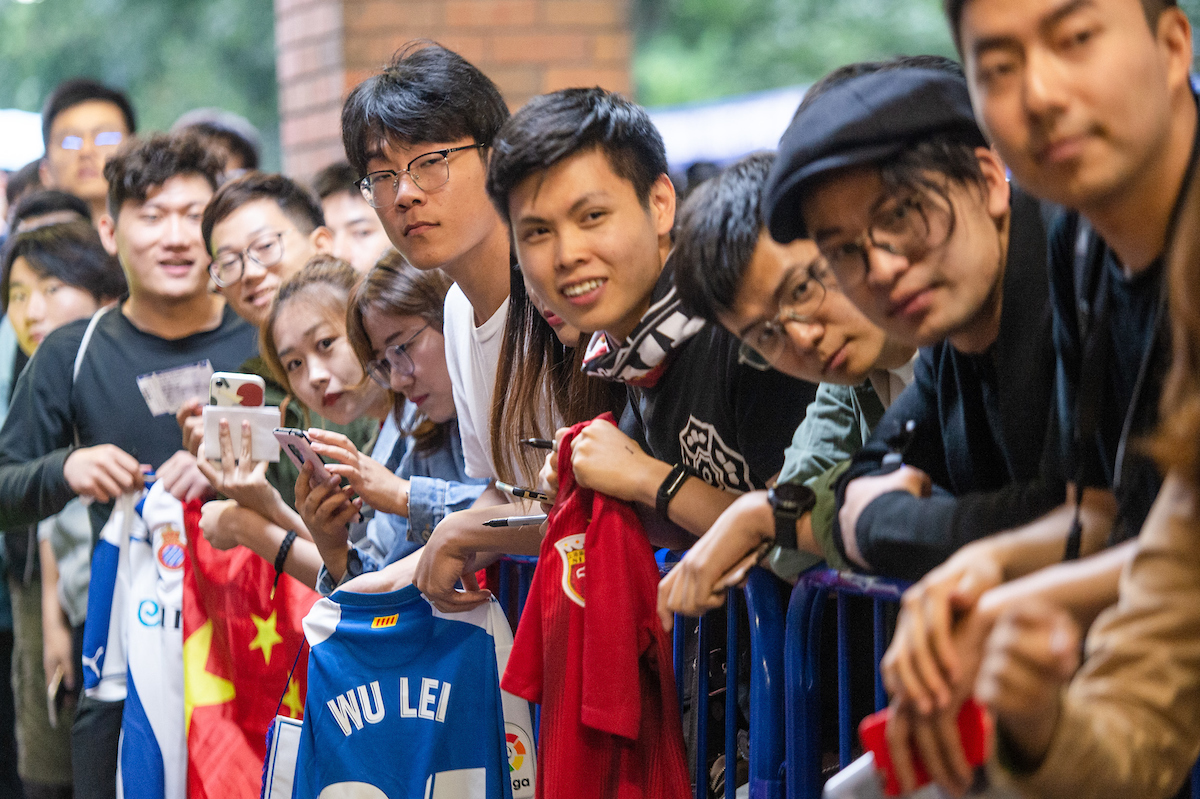 Fans of Wu Lei of RCD Espanyol during the Pre-season friendly match at Hillsborough, Sheffield Picture by Matt Wilkinson/Focus Images Ltd 07814 960751 28/07/2019