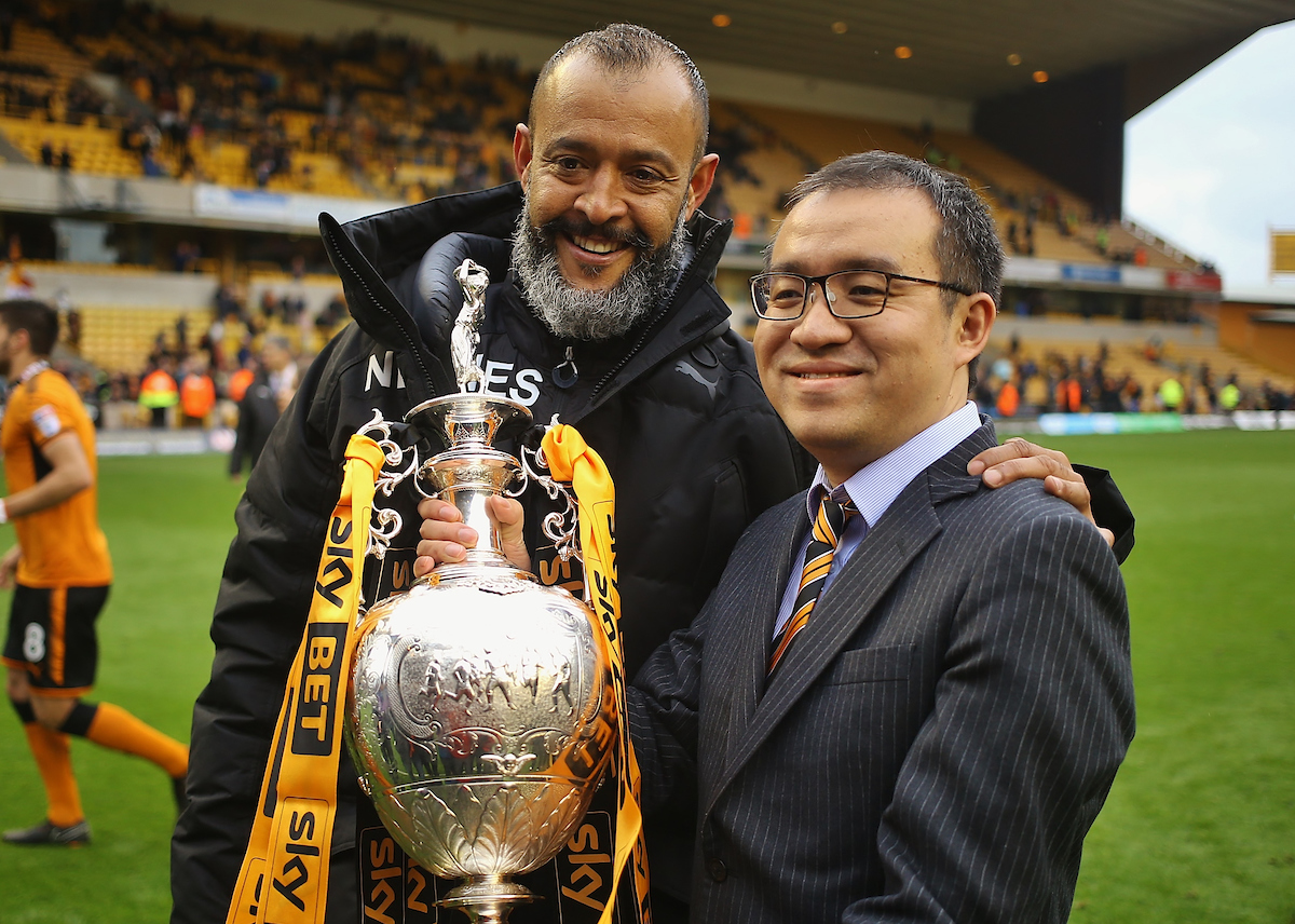 Wolverhampton Wanderers executive chairman Jeff Shi and head coach Nuno Espirito Santo with the Champions League Trophy during the Sky Bet Championship match at Molineux, Wolverhampton Picture by Will Kilpatrick/Focus Images Ltd 07964 414368 28/04/2018