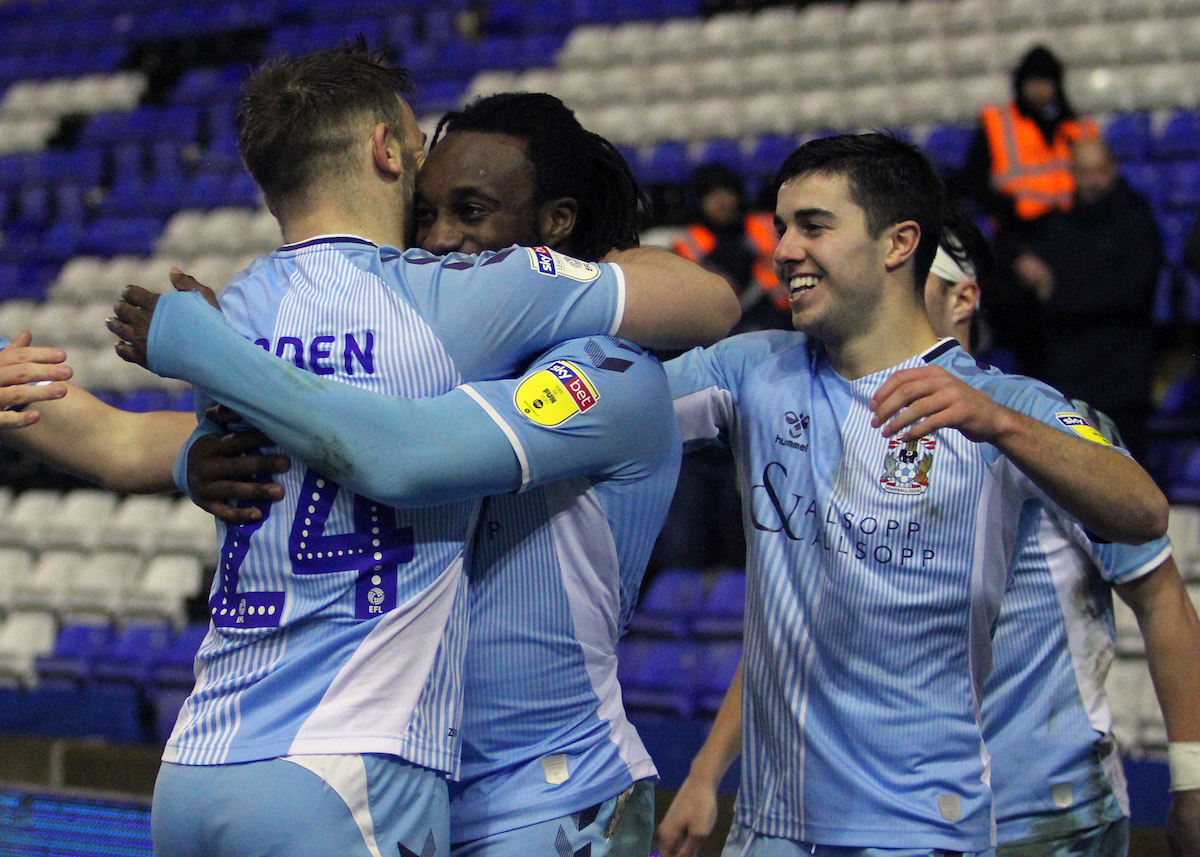 Matty Godden (L) celebrates after scoring the equalising goal for Coventry City during the Sky Bet League 1 match at the Ricoh Arena, Coventry Picture by Will Kilpatrick/Focus Images Ltd 07964 414368 25/02/2020
