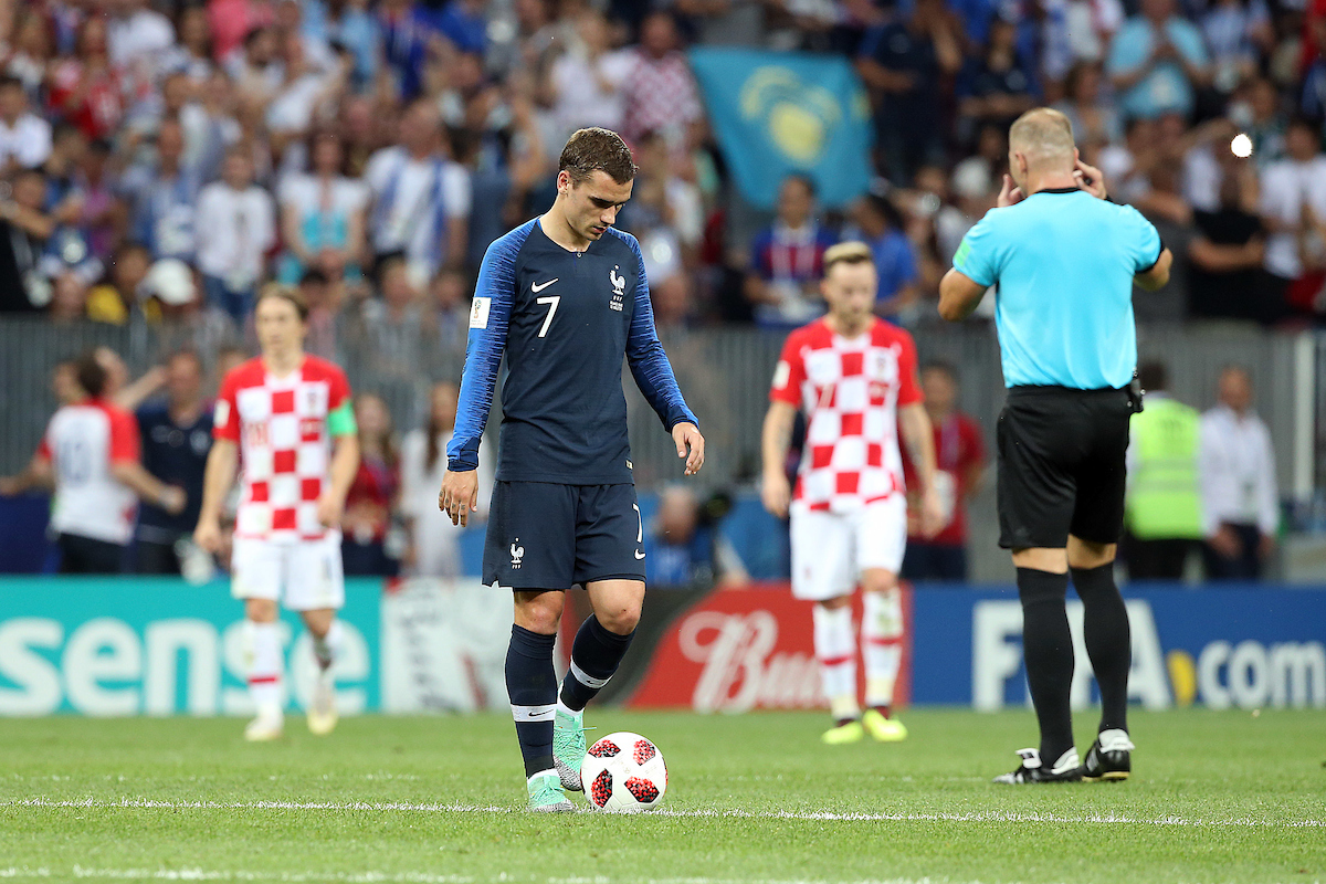 Antoine Griezmann of France prepares to restart the match after after his side concedes it's 1st goal during the 2018 FIFA World Cup Final match at Luzhniki Stadium, Moscow Picture by Paul Chesterton/Focus Images Ltd +44 7904 640267 15/07/2018