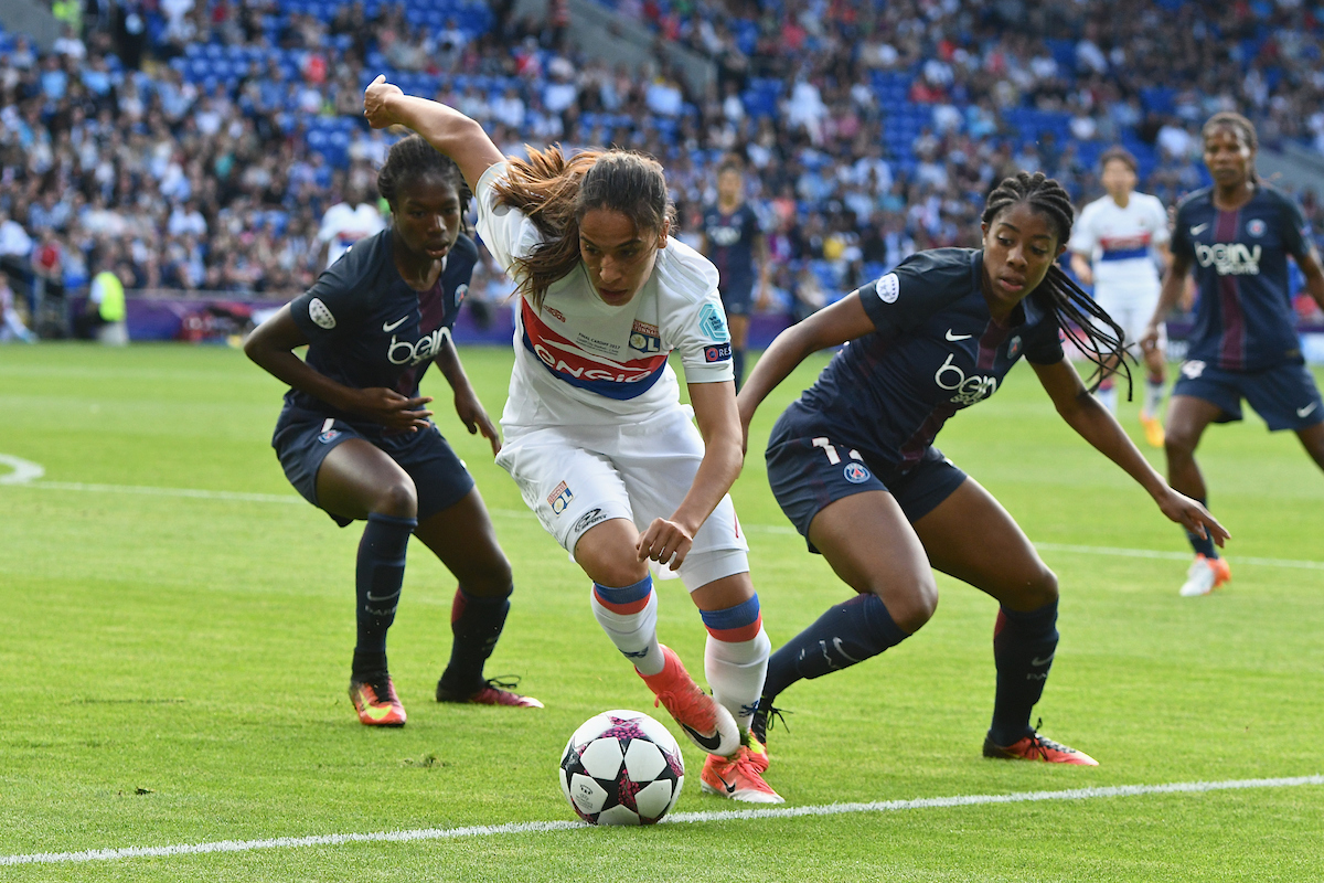 Amel Majri of Olympique Lyonnais Féminin (centre) during the UEFA Women's Champions League Final at the Cardiff City Stadium, Cardiff Picture by Kristian Kane/Focus Images Ltd +44 7814 482222 01/06/2017