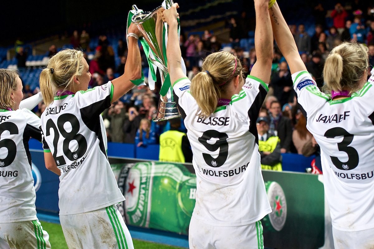 Picture by Ian Wadkins/Focus Images Ltd +44 7877 568959.23/05/2013.Conny Pohlers,Lena Goessling,Anna Blässe and Zsanett Jakabfi of Wolfsburg celebrate winning the UEFA Women's Champions League match at Stamford Bridge, London..