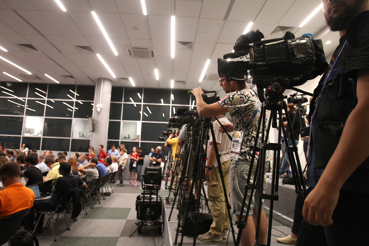 The World's Media awaits the England press conference at the Nizhny Novgorod Stadium. Behind the scenes of the 2018 FIFA World Cup Picture by Paul Chesterton/Focus Images Ltd +44 7904 640267 23/06/2018