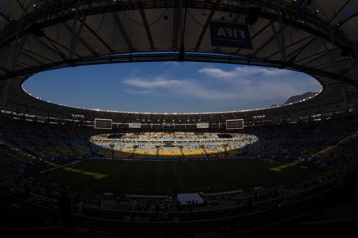 General view of the stadium before during the 2014 FIFA World Cup Group E match at Maracana Stadium, Rio de Janeiro Picture by Andrew Tobin/Focus Images Ltd +44 7710 761829 25/06/2014