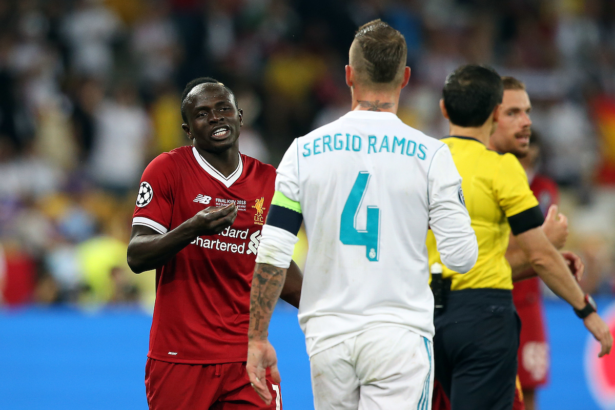 Sadio Mane of Liverpool and Sergio Ramos of Real Madrid disagree during the UEFA Champions League Final at the Olympic Stadium, Kiev Picture by Paul Chesterton/Focus Images Ltd +44 7904 640267 26/05/2018