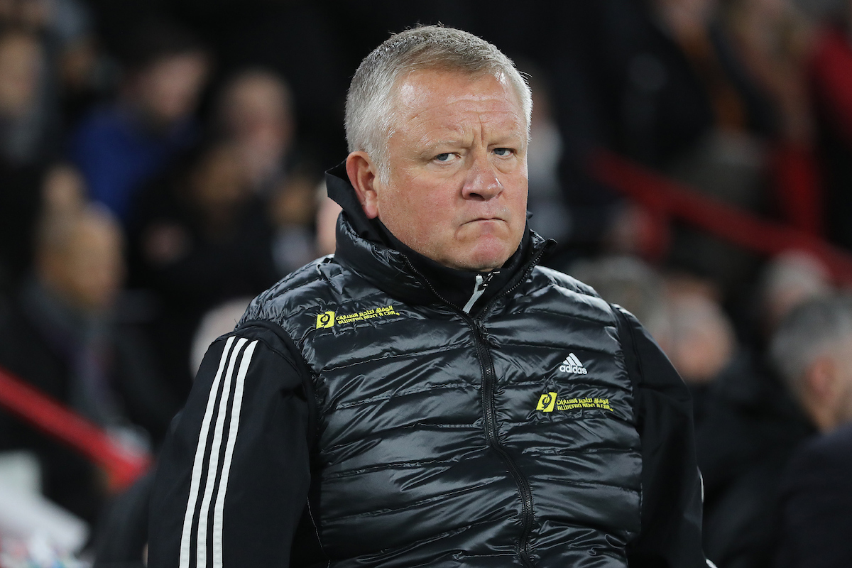 Chris Wilder manager of Sheffield United on the touchline prior to the Premier League match against Manchester United at Bramall Lane, Sheffield. Picture by Michael Sedgwick/Focus Images Ltd +44 7900 363072 24/11/2019